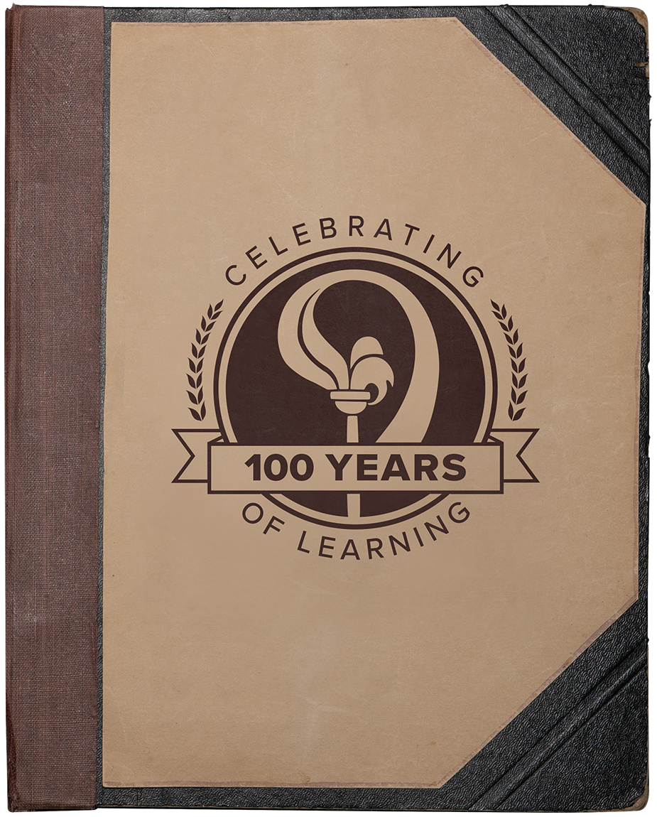 Scrapbook front cover with Open School Logo